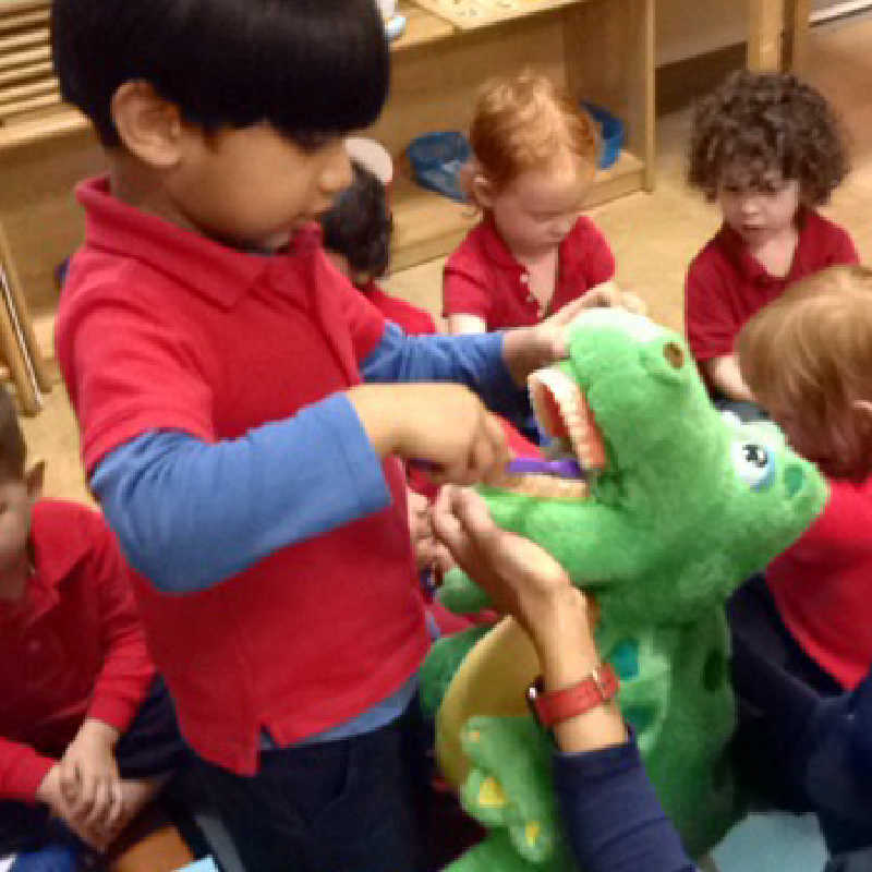 Students learn how to brush their teeth